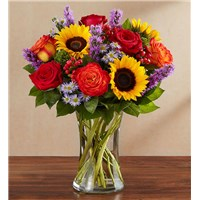country-medley-sunflowers- bi-color-roses-in-a-clear-vase-for-fall